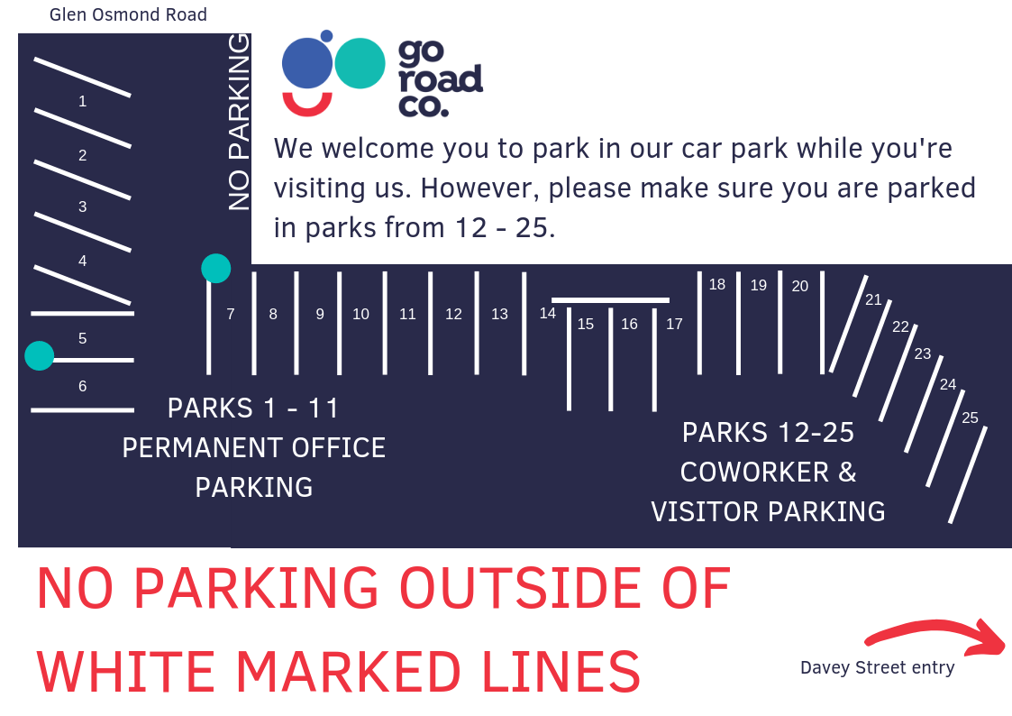 We welcome you to park in our car park while you're visiting us. However, please make sure you are parked in parks 12-25 only.